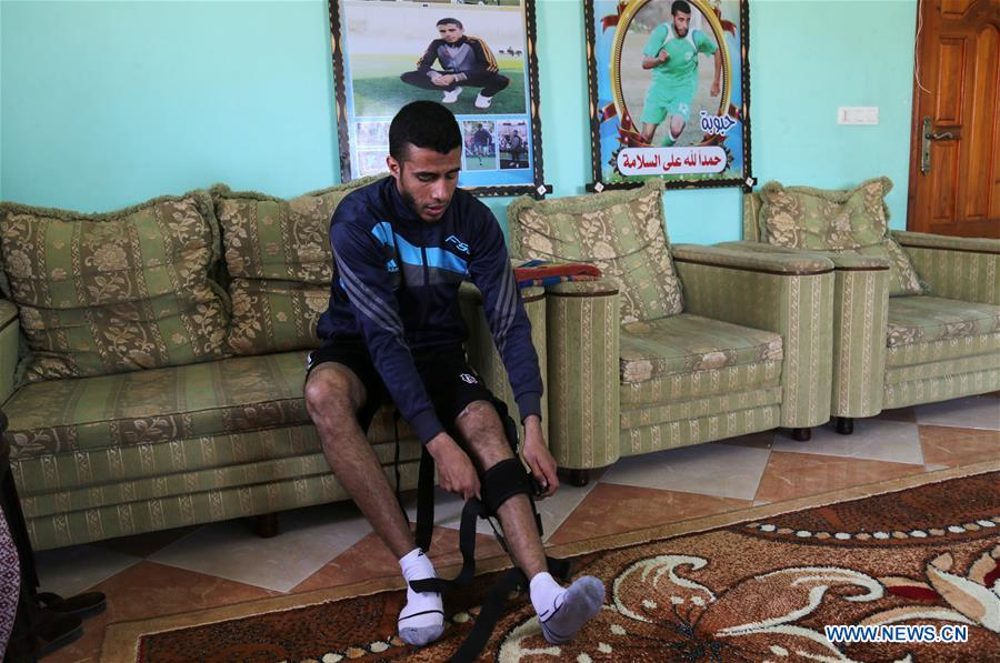 巴勒斯坦 -  GAZA-伤口足球运动员