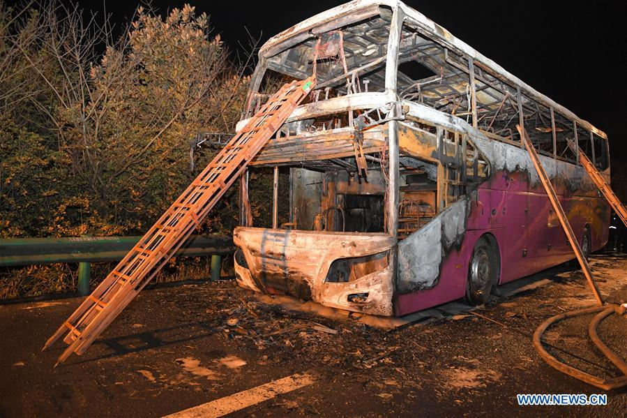 26 dead, 28 injured in central China coach fire - Xinhua