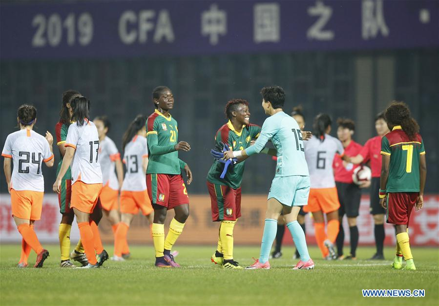 (SP)CHINA-WUHAN-FOOTBALL-INTERNATIONAL WOMEN'S FOOTBALL TOURNAMENT WUHAN 2019 FINAL-CHINA VS CAMEROON