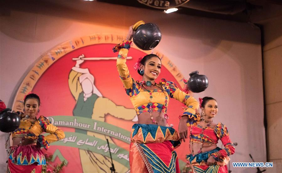 Artists perform during 7th edition of Damanhour Int'l Folk Festival