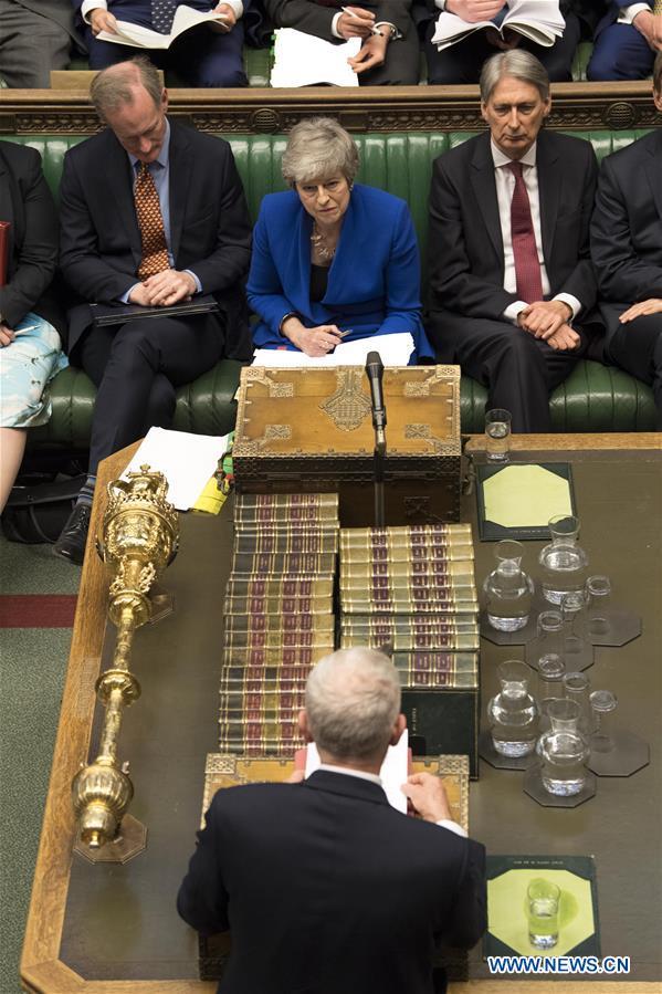 Theresa May在伦敦的下议院出席PM的问题