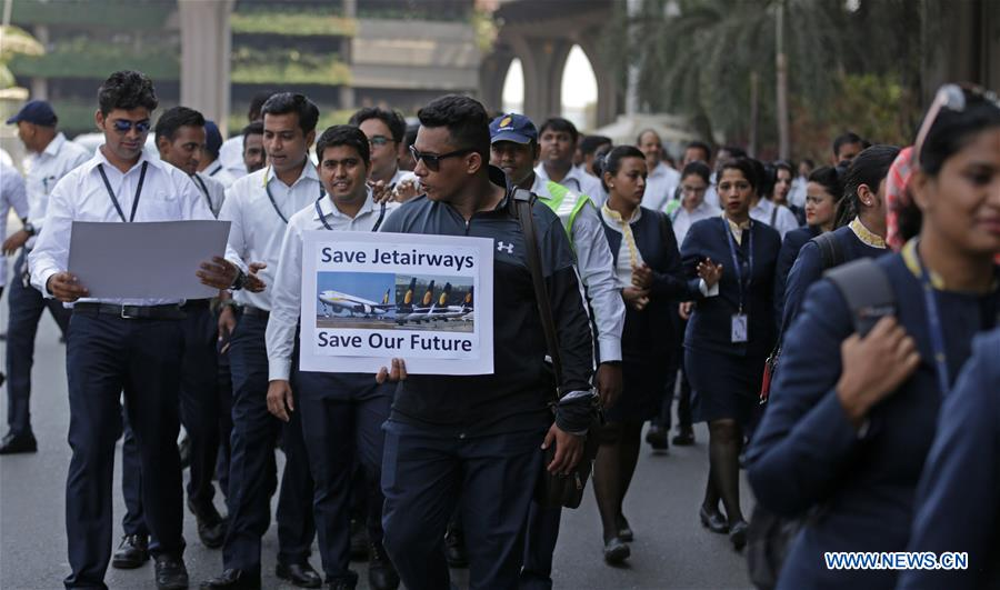 INDIA-MUMBAI-JET AIRWAYS-PROTEST