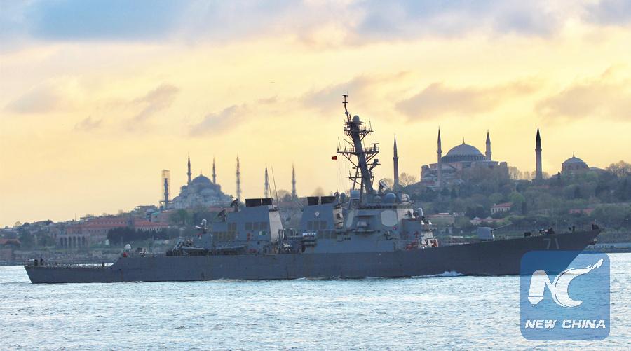 Russian warships track U.S. destroyer in Black Sea