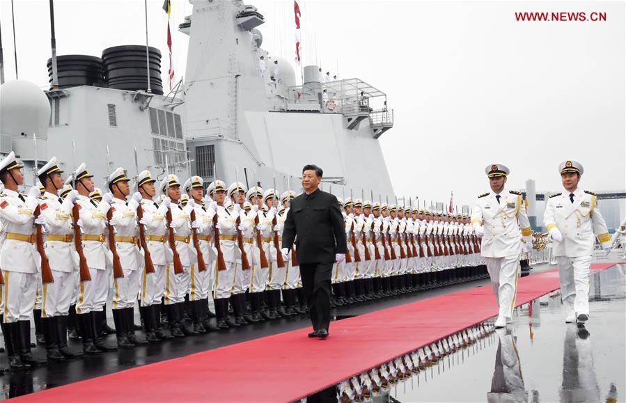 CHINA-QINGDAO-PLA NAVY-XI JINPING-HONOR GUARDS INSPECTION (CN)