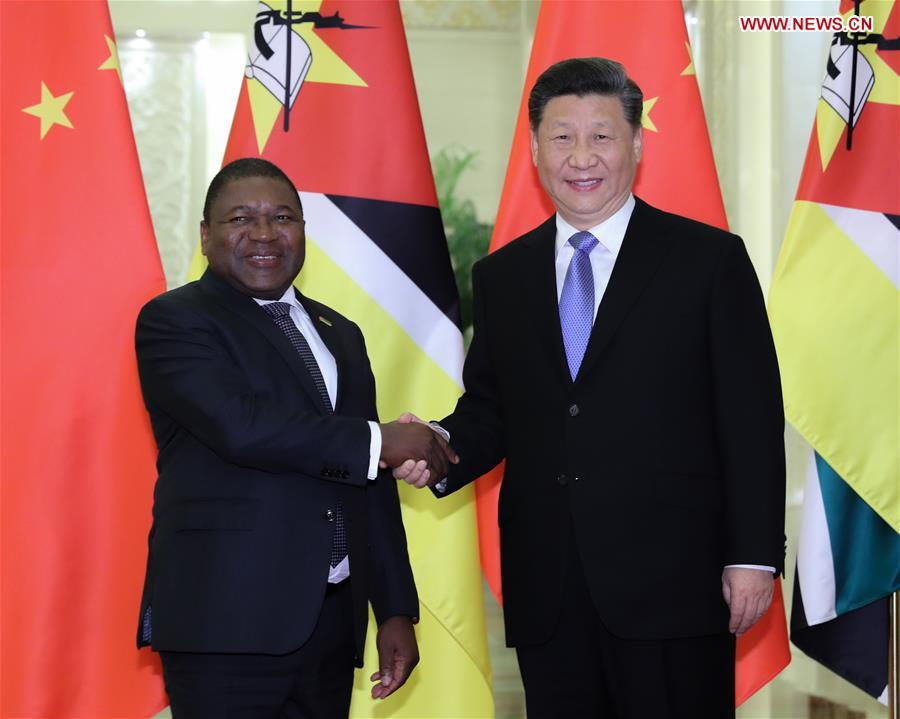 (BRF)CHINA-BEIJING-BELT AND ROAD FORUM-XI JINPING-MOZAMBICAN PRESIDENT-MEETING (CN)