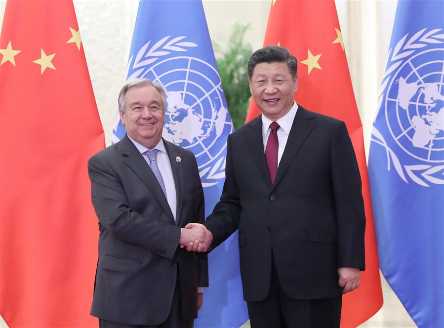 (BRF)CHINA-BEIJING-XI JINPING-UN CHIEF-MEETING (CN)