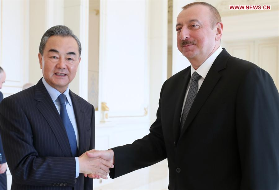 AZERBAIJAN-BAKU-ALIYEV-CHINA-WANG YI-MEETING