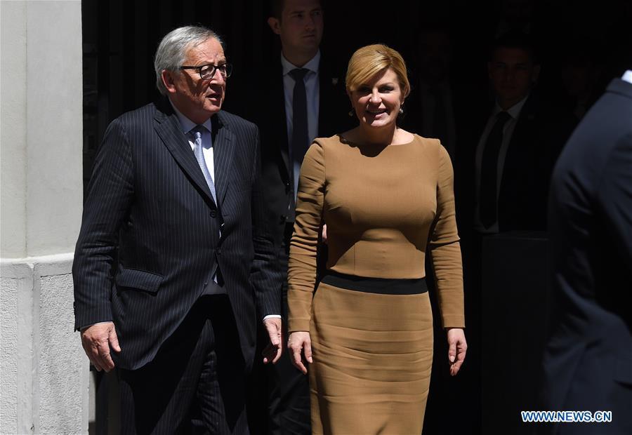 克罗地亚,萨格勒布 - 欧盟容克-VISIT