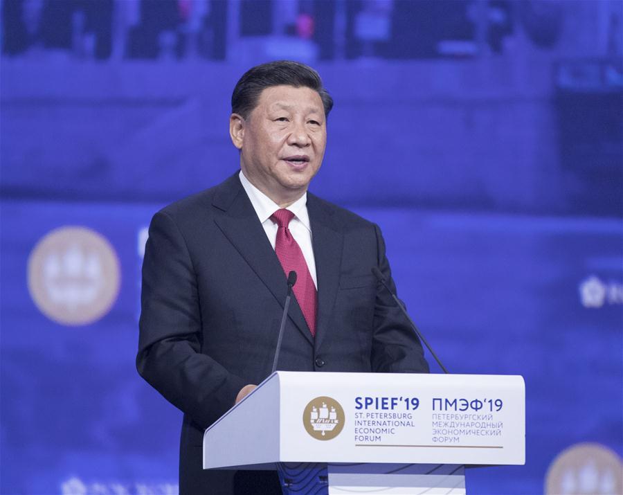 俄罗斯-ST。 PETERSBURG-CHINA-XI JINPING-SPIEF-PLENARY SESSION