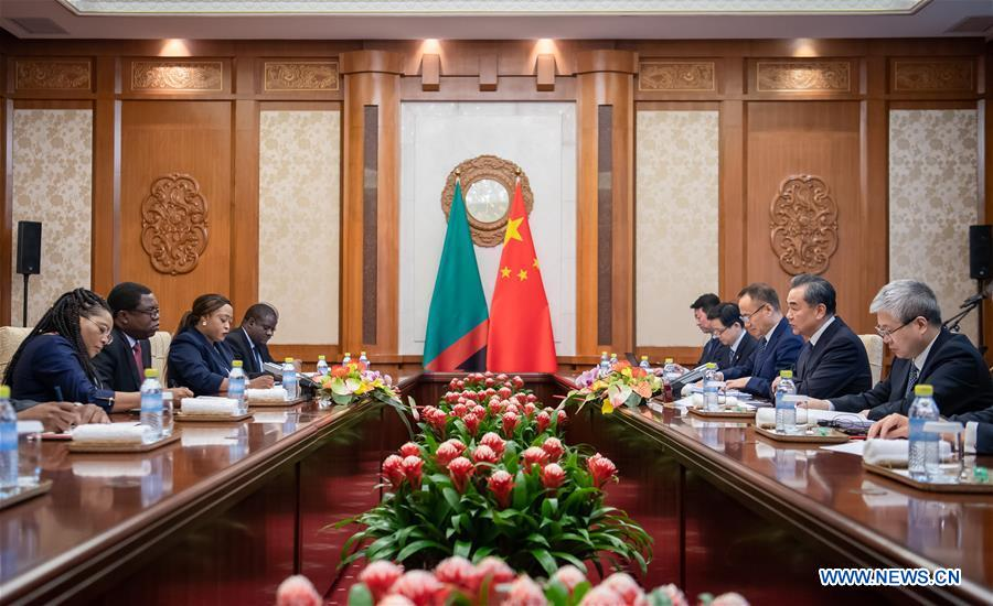 CHINA-BEIJING-WANG YI-ZAMBIA-FM-MEETING (CN)