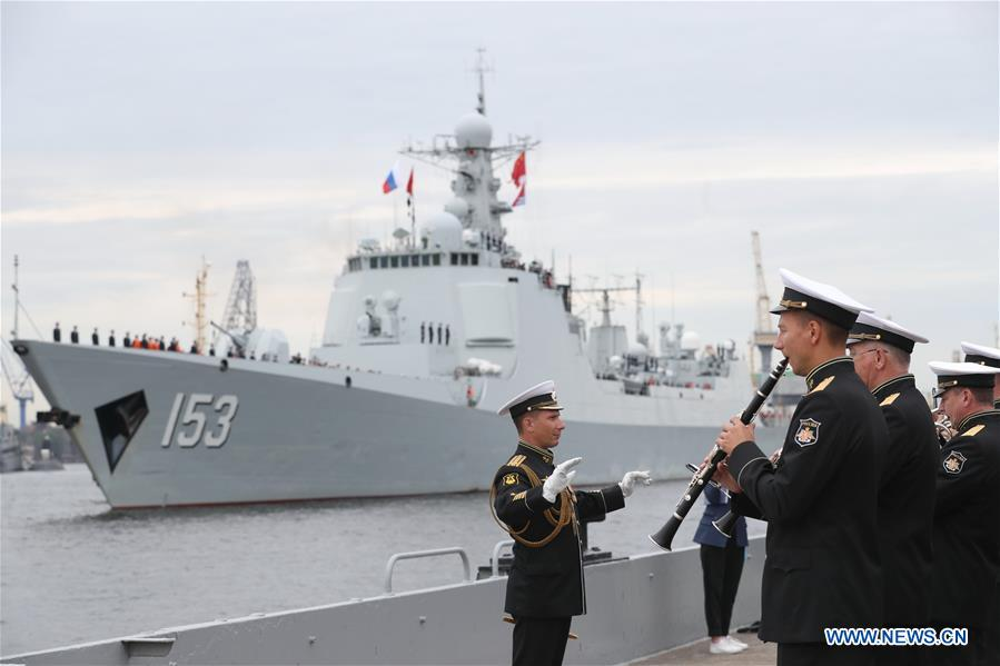 Image result for Chinese missile destroyer Xi'an arrives in St. Petersburg, Russia