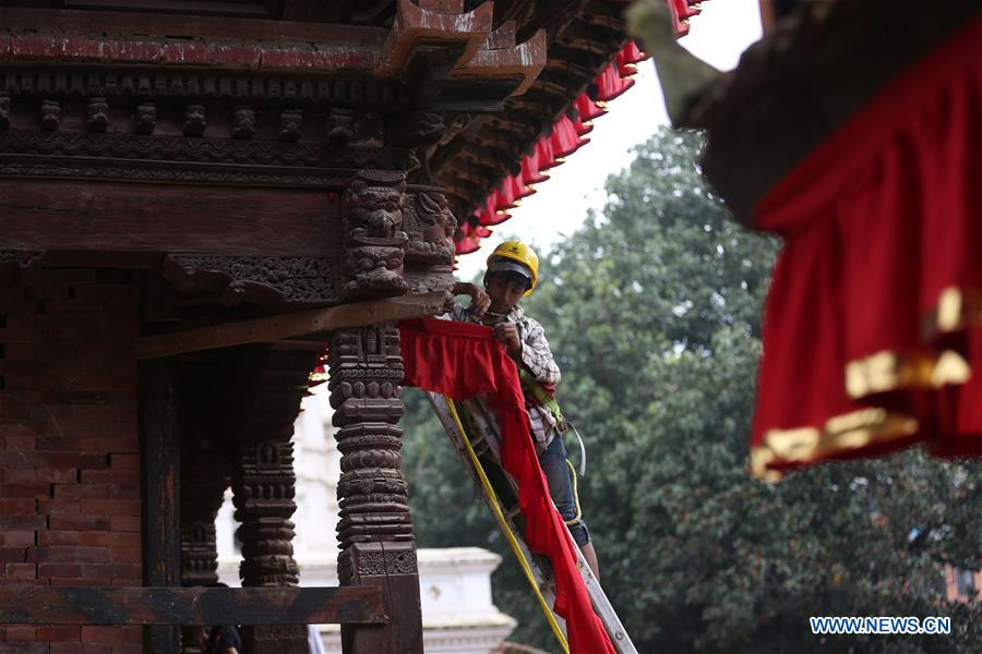 NEPAL-KATHMANDU-INDRAJATRA节日准备