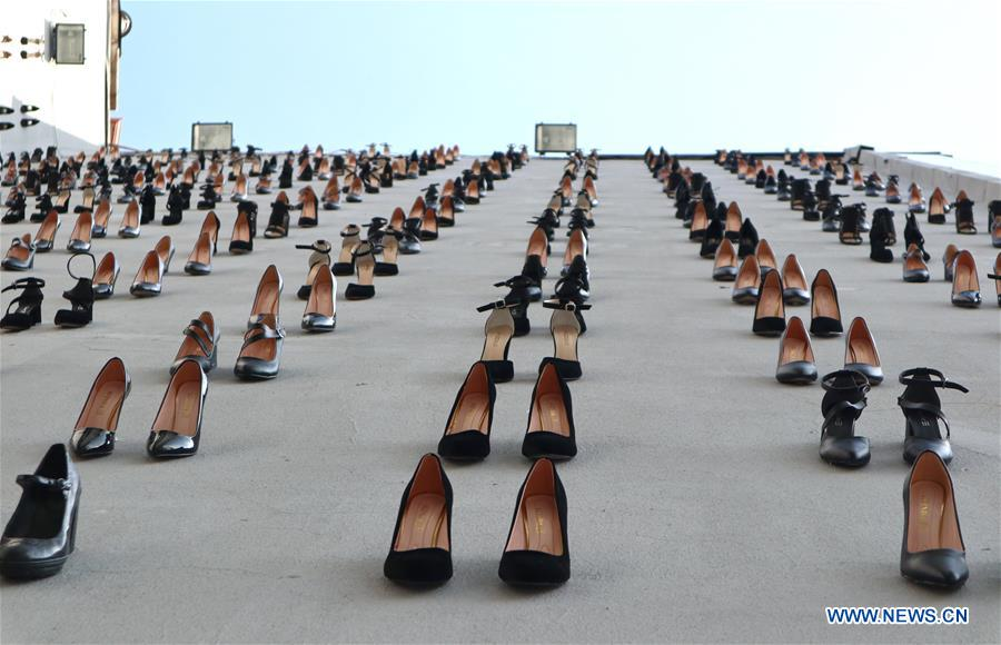 TURKEY-ISTANBUL-HIGH HEELS INSTALLATION-AWARENESS AGAINST MALE VIOLENCE