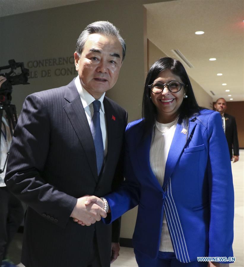 UN-CHINA-WANG YI-VENEZUELA-VICE PRESIDENT-MEETING