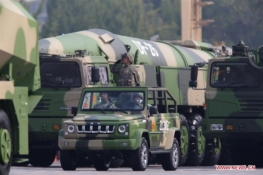 Dongfeng-26 conventional and nuclear missiles reviewed in National Day parade