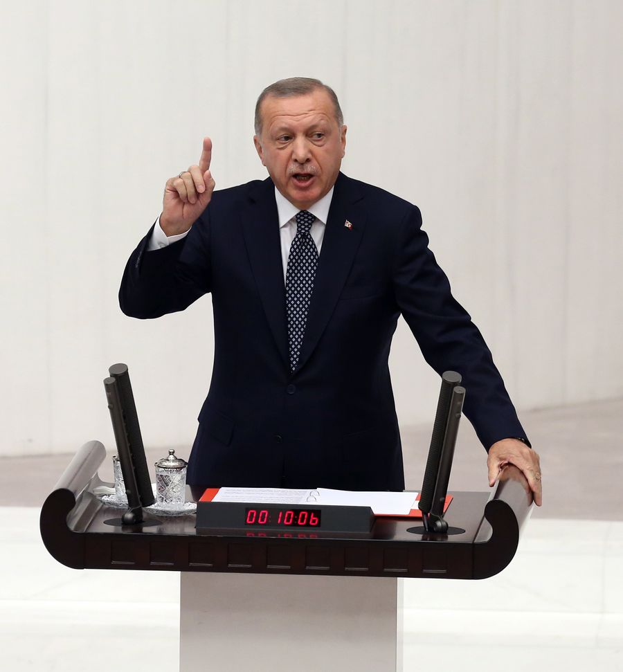 Erdogan says Turkish forces to push 30-35 km into Syrian territory - Xinhua | English.news.cn