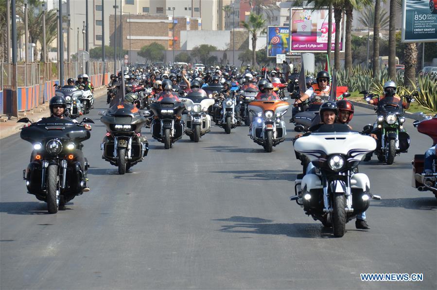 MOROCCO-CASABLANCA-HARLEY-DAVIDSON MOTORCYCLE PARADE