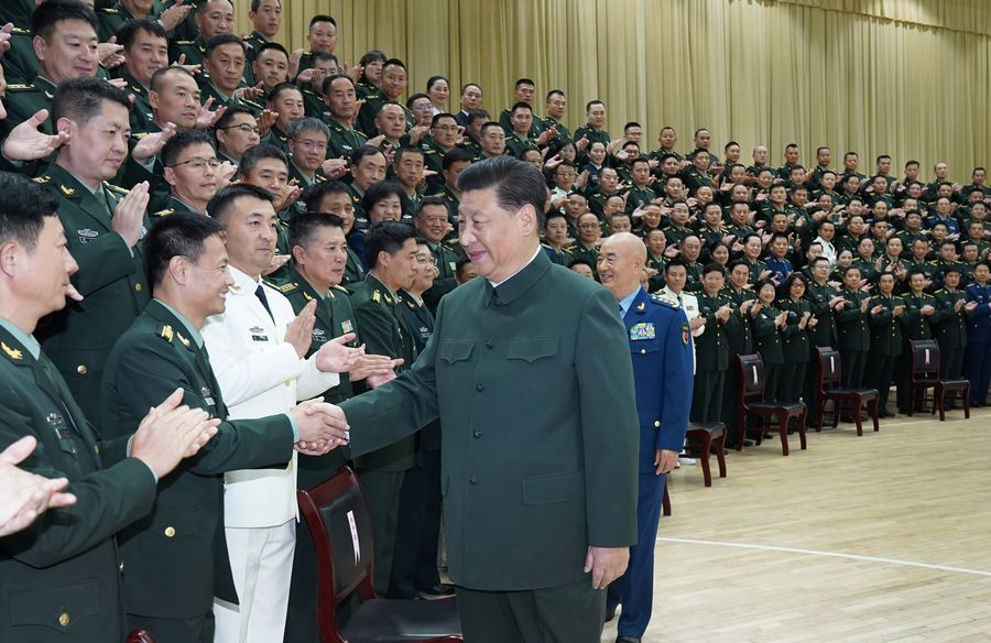 President Xi meets delegates to PLA logistic support force Party congress, senior officers in Hubei - Xinhua | English.news.cn