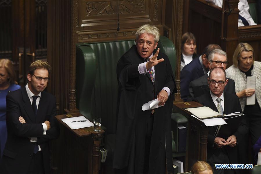 BRITAIN-LONDON-COMMONS SPEAKER-REJECTION-GOV'T BID FOR BREXIT DEAL VOTE