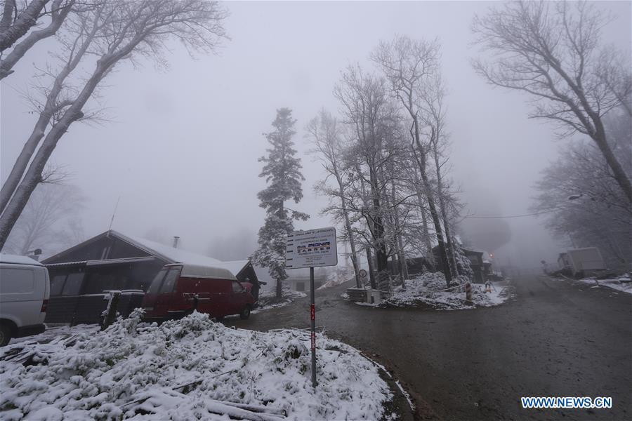 Snowfall Hits Sljeme Mountain In Zagreb Croatia Xinhua English News Cn