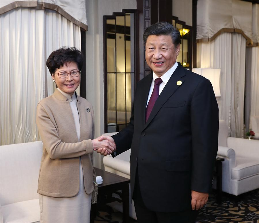 (CIIE)CHINA-SHANGHAI-XI JINPING-CARRIE LAM-MEETING (CN)
