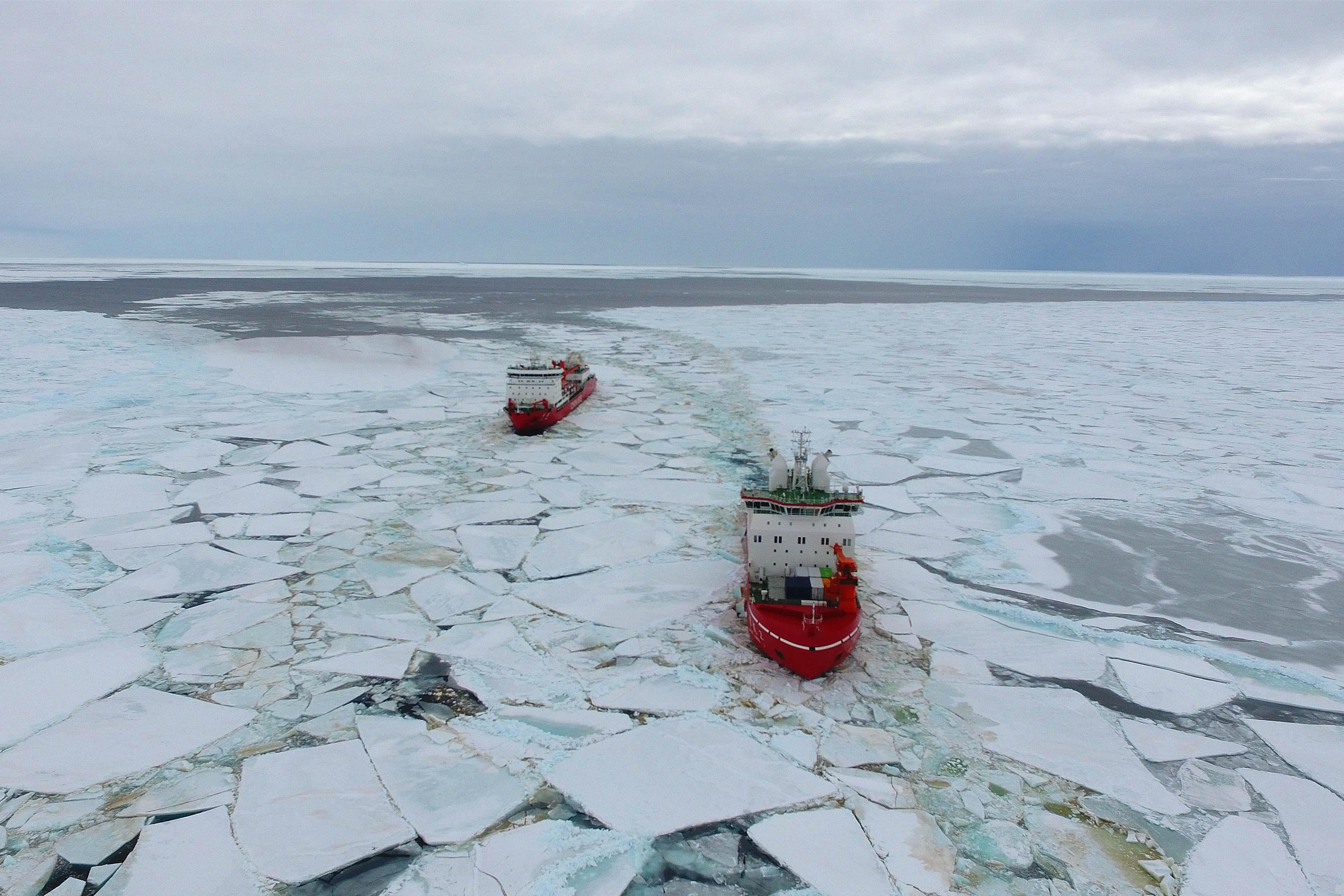 China's polar icebreakers reach the waters near the Zhongshan Station in Antarctica - Xinhua | English.news.cn