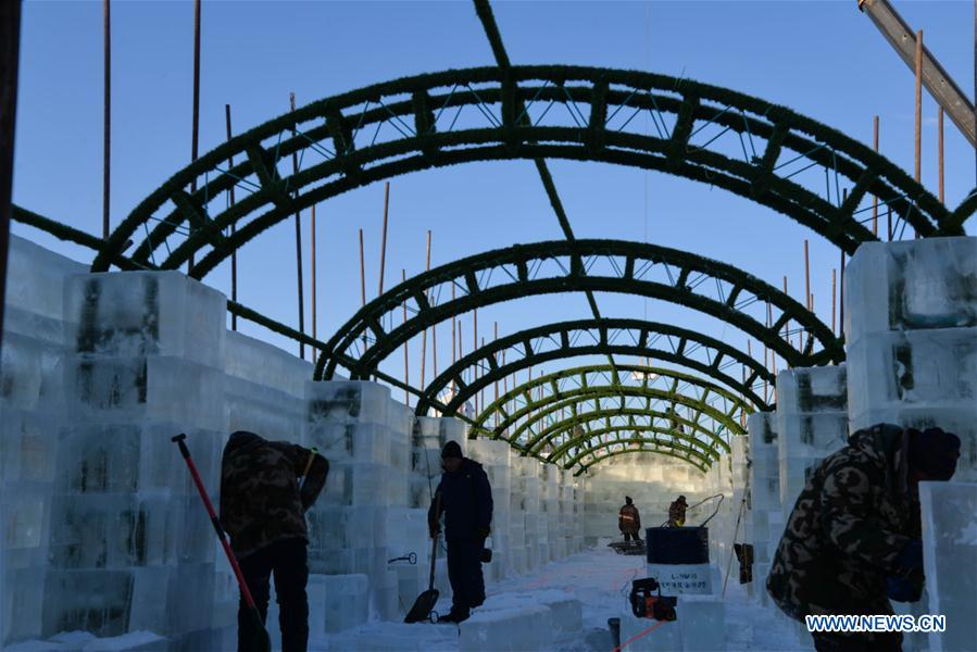 CHINA-INNER MONGOLIA-MANZHOULI-ICE SCULPTURE-PREPARATION (CN)
