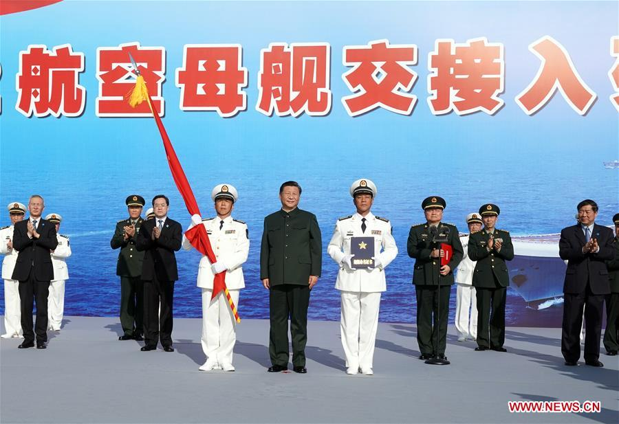 CHINA-HAINAN-XI JINPING-FIRST CHINESE-BUILT AIRCRAFT CARRIER-COMMISSIONING (CN)