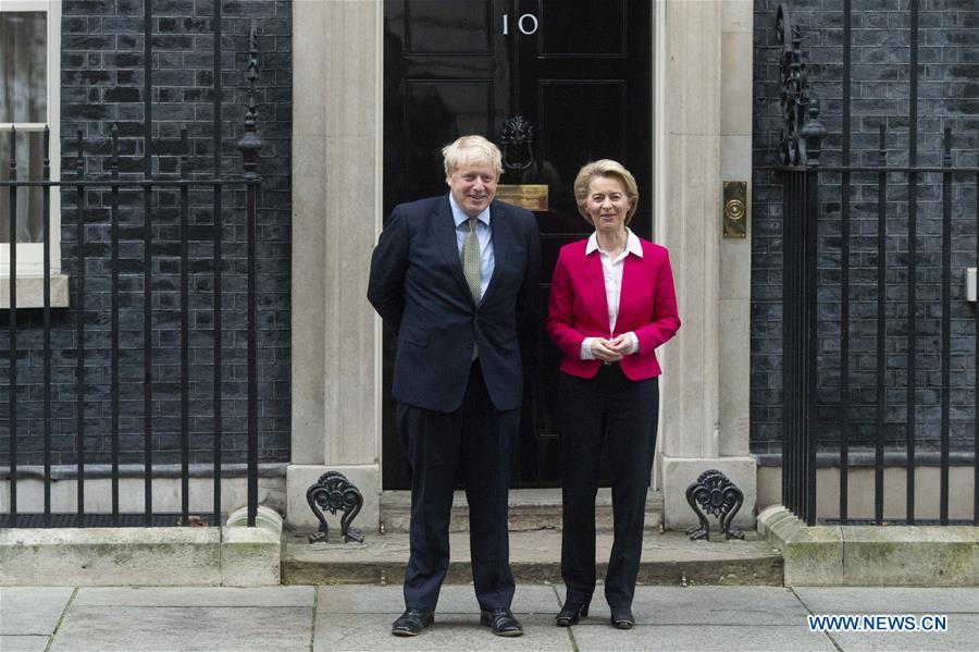 英国伦敦-欧盟乌苏拉·冯·德·莱恩·鲍里斯·约翰逊会议