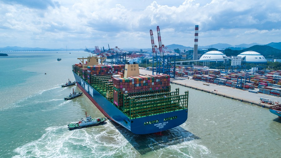 World's largest containership calls at east China harbor - Xinhua   English.news.cn