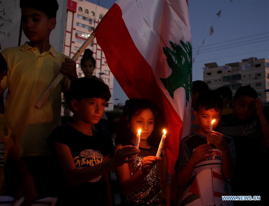 MIDEAST-GAZA-BEIRUT-EXPLOSIONS-SOLIDARITY