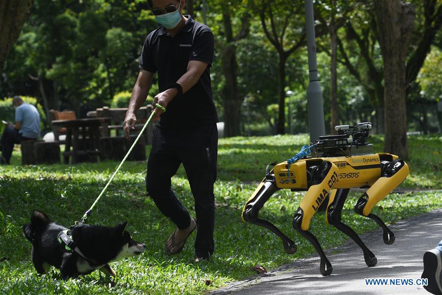 SINGAPORE-COVID-19-ROBOT DOG-TRIAL