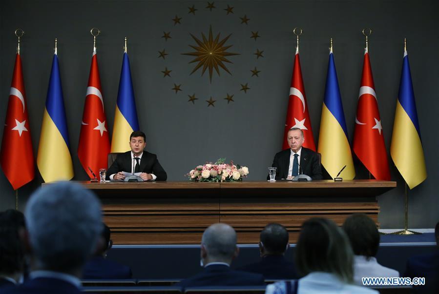 TURKEY-ISTANBUL-PRESIDENT-UKRAINE-PRESIDENT-PRESS CONFERENCE-DOCUMENTS-SIGNING