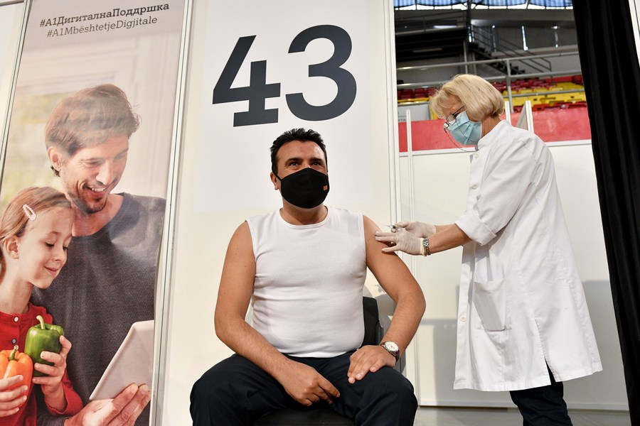 North Macedonia's PM receives first shot of Chinese-made COVID-19 vaccine - Xinhua | English.news.cn