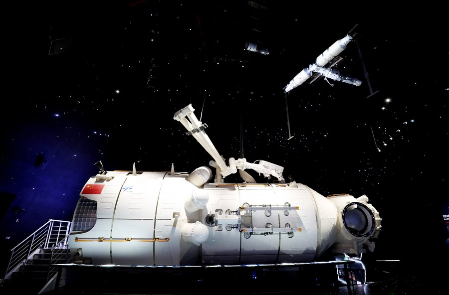 Model of China's space station core module Tianhe on display in Shanghai - Xinhua   English.news.cn