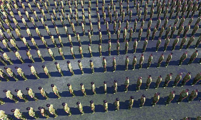 New high school students take part in military training in China's Hebei