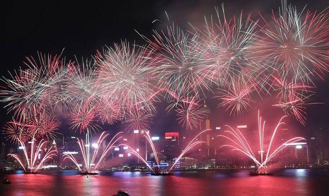 Fireworks light up sky on night of China's National Day