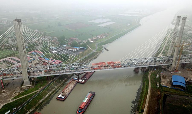 In pics: construction site of Yuxi River Bridge in China's Anhui