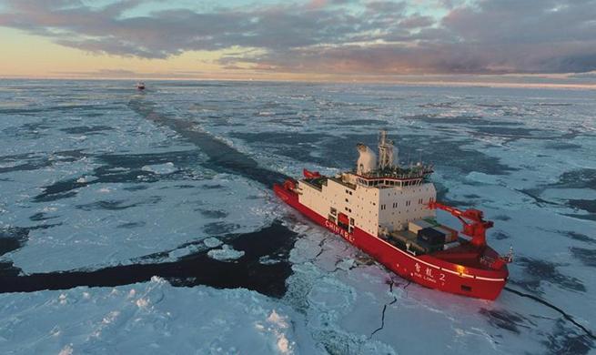 China's polar icebreakers Xuelong, Xuelong 2 sail in Antarctica water