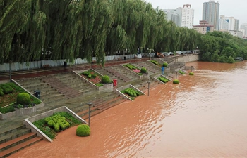 Water level in Lanzhou section of Yellow River rises rapidly due to heavy rain