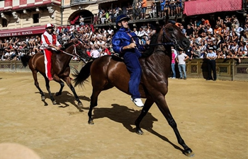 """Traditional horse race """"Palio di Siena"""" held in Italy"""