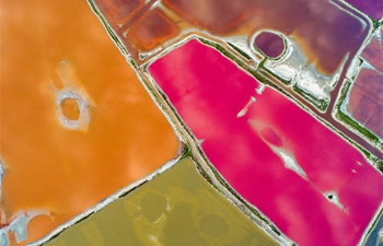 Aerial view of Yuncheng salt lake in China's Shanxi