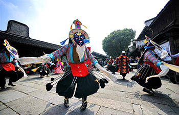 Troupers perform Tibetan opera in Wuzhen, China's Zhejiang