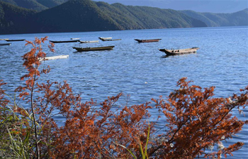 Scenery of Lugu Lake in China's Yunnan