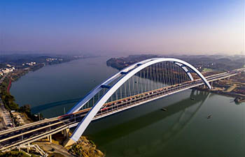 Aerial view of Guantang bridge in Liuzhou, south China's Guangxi