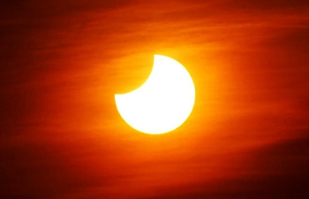 Partial solar eclipse observed in China