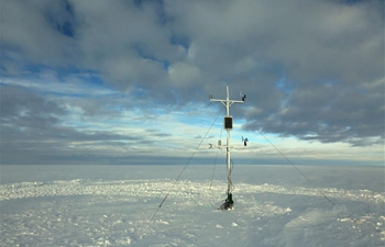 Members of China's Antarctic expedition team install automatic meteorological station