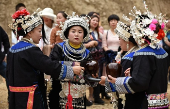 "Miao ethnic group celebrates ""San Yue San"" festival in SW China's Guizhou"