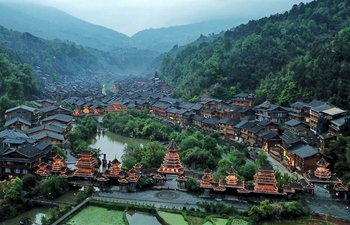 Aerial view of Dong village of Zhaoxing in SW China's Guizhou