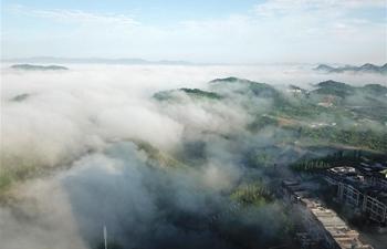 Fog scenery in Guiyang, SW China's Guizhou